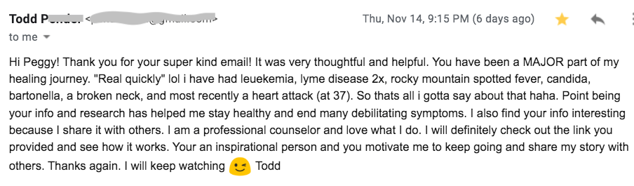 Email Feedback Todd, major part of my life